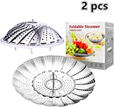 2pcs Steamer Basket Stainless Steel Vegetable Steamer Basket Folding Steamer Insert for Veggie Fish Seafood Cooking, Expandable to Fit Various Size Pot Pressure Cooker (5 1/2