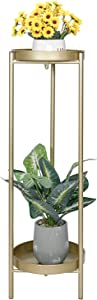 Tiita 2 Tier Metal Plant Stand End Table, Foldable Sturdy Flower Pot Base for Indoor Outdoor Home Decor(30 X 10in, Gold)