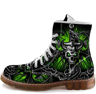 4b632b5ae5c1 FIRST DANCE Boots for Mens Skull Printed Shoes for Men Martins Shoes for  Men Black Shoes