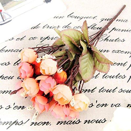 XdiseD9Xsmao 18 zachte, elegante camelie pioenrose, kunstmatige zijden bloemen in roze voor een feestelijke sfeer Arancia Mista