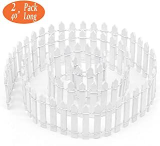 Buytra 2 Pack 40 Inches Long Miniature Fairy Garden Fence, White Wood Picket Fence, Decorative Fence for Miniature Garden, Fairy Garden Ornaments