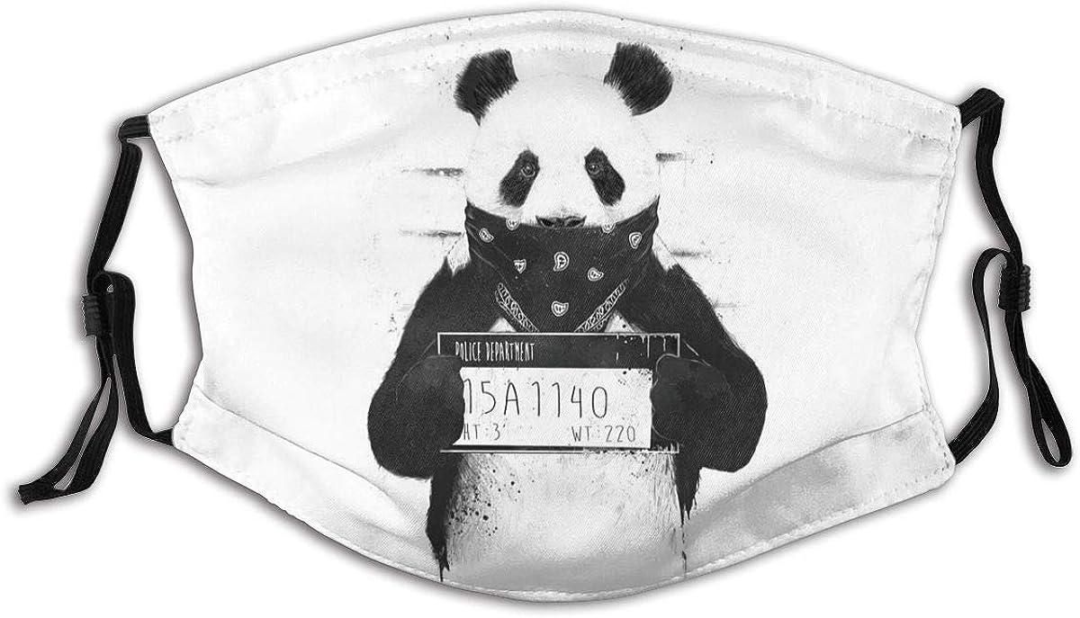 Happy Panda Animals Cute Bears Face Mask Fashion Dustproof Scarf Breathable Reusable Adjustable Washable Bandana