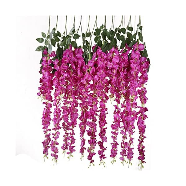 Veryhome Artificial Silk Wisteria Vine Ratta Silk Hanging Flower Wedding Decor,6 Pieces