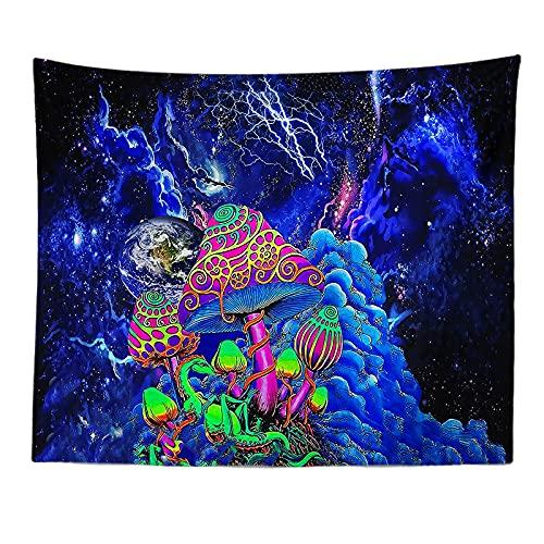 KHKJ Tapiz de Mandala de Hongos, cabecero de Pared, Colcha de Arte, Tapiz de Dormitorio para Sala de Estar, Dormitorio, decoración del hogar A21 150x130cm