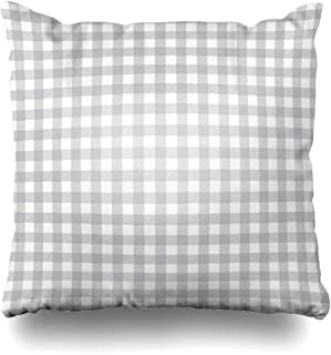 Ahawoso Decorative Throw Pillow Cover Gingham Check Gray Buffalo Plaid Pattern White Checkered Flannel Grey Lumberjack Zippered Design 16