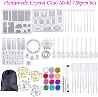 JQjian Geometric Silicone Casting Molds Stick Dropper Clasp DIY Jewelry Craft Making Tools Set DIY Earring Pendant UV Epoxy Resin Mould (159 PC)