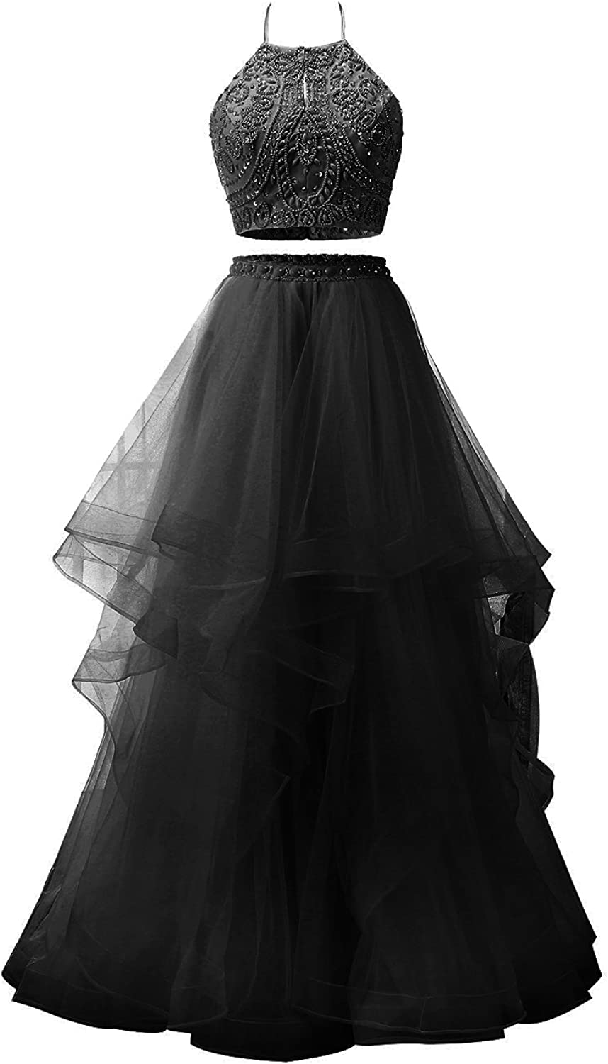 ALAGIRLS Women Long Halter Two Piece Beaded Prom Evening Dresses Tulle Gowns