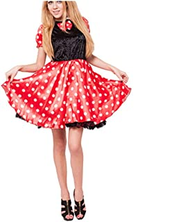 Halloween Costume Women Retro Miss Mouse Costume Movie Tv Character Cosplay Female Dot Print Christmas Dress Adult Costume