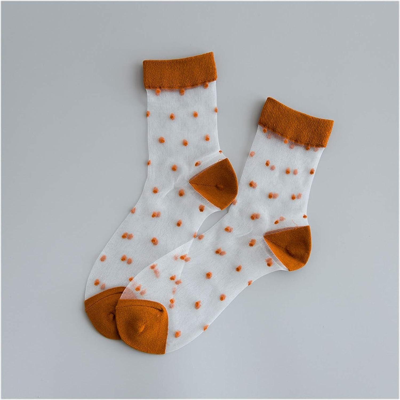 CHENGCHAO Sock Vintage Dot Colored Summer Transparent Funny Socks Women Cute Hollow Out Thin Short Harajuku Socks Casual Cool Art Sock Movement (Color : Orange)