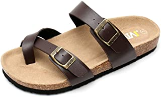 Women's Slide Flat Cork Sandals with Adjustable Strap Buckle Open Toe Slippers Suede Footbed