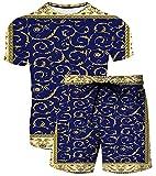 XUANXAI Hombres Tops de Verano Conjuntos de Pantalones Cortos, 2 Piezas Traje de chándal Transpirable Entrenamiento al Aire Libre T-Shirts T-Shirts Shorts Sportswear 9-5XL