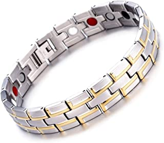 WangGao Stainless Steel Mens Women Magnetic Bracelet with Magnets Germanium with Free Link Removal Kit