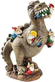 ZWL Dinosaur Eating Gnomes Garden Gnome Statues Outdoor Decor Funny Gnome Resine Figurines Garden Art Ornaments for Indoor...