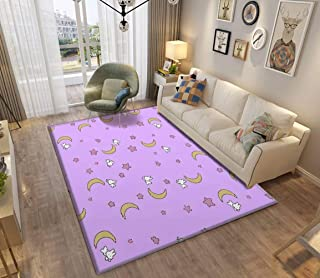 Sailor Moon Inspired Bunny of The Moon Bedspread Blanket Print Area Rugs Non-Slip Floor Mat Doormats Home Runner Rug Carpet for Bedroom Indoor Outdoor Kids Play Mat Nursery Throw Rugs Yoga Mat