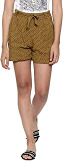 Chumbak Garden Fling Cotton Mustard Shorts for Women