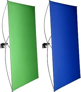 Neewer 100x140cm Pantalla de Fondo Azul/Verde Chromakey 2 en 1 Portátil con 4 Varillas Flexibles Soporte Bolsa Transporte ...