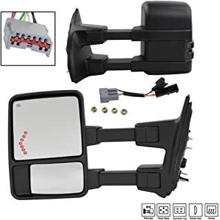 MOTOOS Tow Mirrors Fit for 99-07 Ford F-250 F-350 F-450 Super Duty Towing Mirror Power Heated Smoke Turn Signal Arrow Driver & Passenger Side View