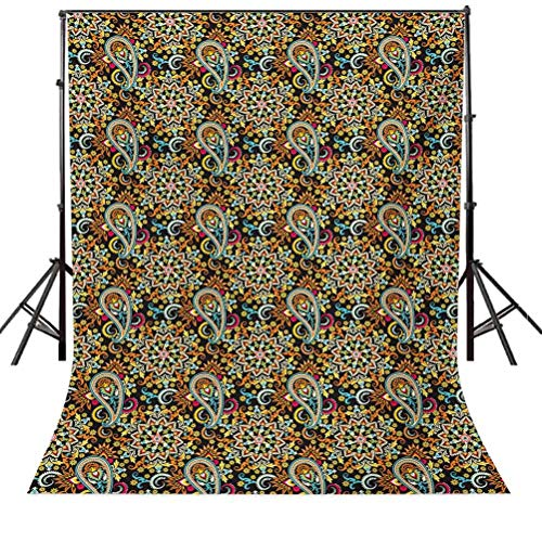 6x6FT Vinyl Backdrop Photographer,Arabesque Motifs Floral Background for Baby Birthday Party Wedding Studio Props Photography