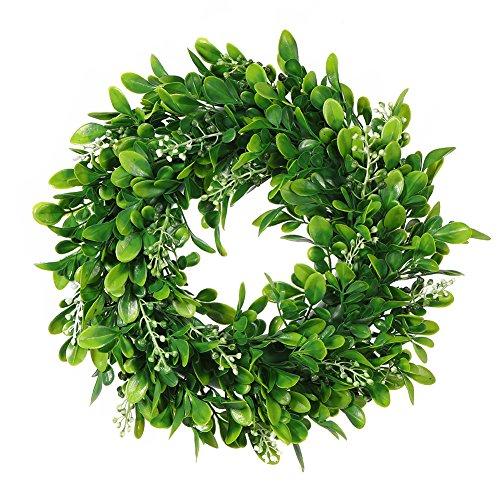 LinTimesTürkranz Wandkranz, Girlande Künstlich Pflanze mit Blumen und grünen Blättern für HochzeitenZuhause, Parties, Türen Und Feste - Grün