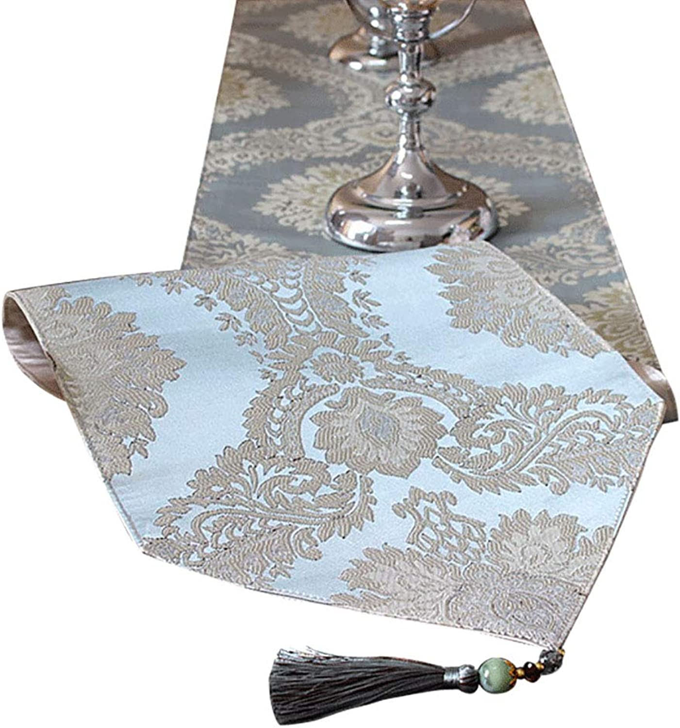 DF bluee Tassel Table Runners for Family Dinners, Gatherings, Parties, Wedding, Everyday Use (Size   33×220cm) (Size   33×220cm)