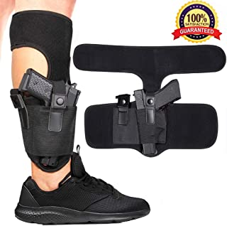 EnriQ Ankle Holster with Calf Strap and Spare Magazine Pouch | Fit Small Frame Guns | Concealed Leg Holsters
