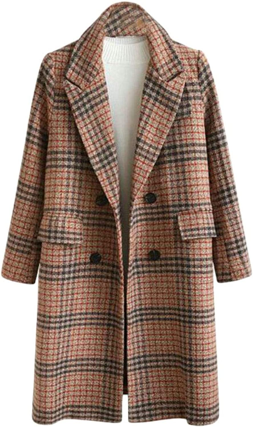 Gocgt Women's DoubleBreasted Trench Coat Plaid Plus Size Wool Blend Overcoat