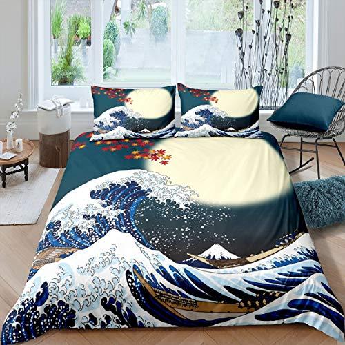 Loussiesd Japanisches Hokusai Muster Bett Set Exotisches Bettbezug Set im japanischen Stil Blue Wave Muster Bettwäsche Set 135x200cm für Kinder Frauen Erwachsene Fuji Mountain Gedruckt
