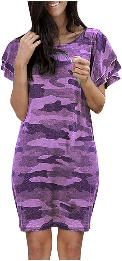 VEKDONE Womens Summer Casual T Shirt Dresses Comfy Camo Print Ruffled Short Sleeve Shift Mini Swing Work Dress