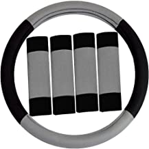 FH Group FH2033GRAY Steering Wheel Cover (Modernistic and Seat Belt Pads Combo Set Gray)