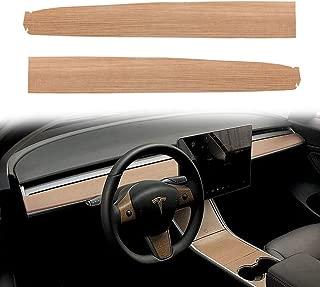 ROCCS Tesla Model 3 Dashboard Wrap, Car Interior Wood Grain Dash Board Wrap Kit Anti-Dirty Stickers, 2PCS