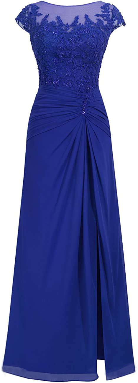 Prom Dress with Split Long Formal Evening Gowns Chiffon Prom Dresses Lace