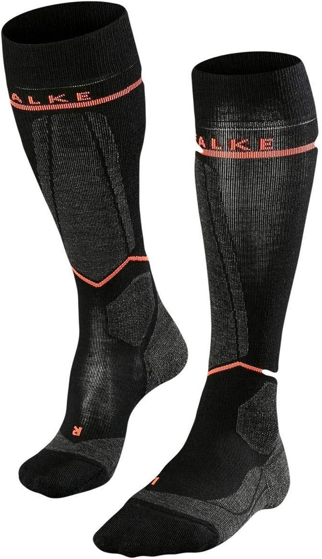 Falke Womens SK Energizing Wool Knee High Socks  Black Neon Red