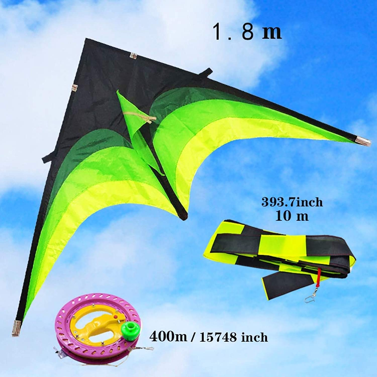 Huge Triangle Kite for Kids and Adults with Long Tail Easy Flyer Good for Outdoor Games,A,1.8m 71inch