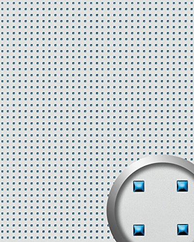Wandpaneel plakfolie plakplastic WallFace 10050 3D QUAD RVS stabiel RVS decor vierkant patroon zilver blauw 2,60 m2