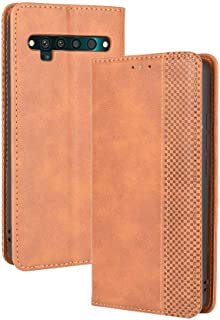 Case for TCL 10 Pro,Leather Stand Wallet Flip Case Cover for TCL 10 Pro,Retro magnetic Phone shell,Wallet phone case with ...