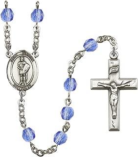 September Birth Month Prayer Bead Rosary with Patron Saint Centerpiece, 19 Inch