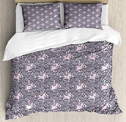 882 Floral Duvet Cover Set King Size, Vintage Style Bindweed Flower Bells Natural and Scented Elements, Decorative 3 Piece Bedding Set with 2 Pillow Shams, Dark Petrol Blue Pale Mauve