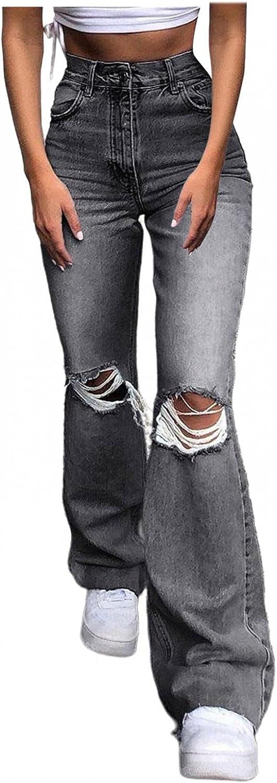 FUNEY Women's Classic Stretch Curvy Bootcut Jeans Cute Distressed Ripped Boyfriend Skinny Bell Bottom Jeans for Women