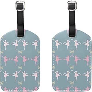 MASSIKOA Ballerinas Ballet Girl Cruise Luggage Tags Suitcase Labels Bag,2 Pack