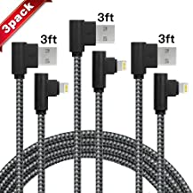 iPhone Charger 3 Pack(3/3/3FT) 90 Degree Right Angle Data Cable Nylon Braided Compatible with iPhone X and Other Models(Black Gray)