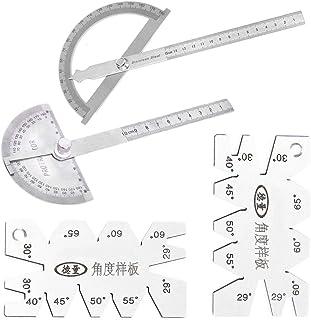 Counius 2 pièces Rapporteur Acier inoxydable 0-180 Degrés Rapporteur D'angle Tête Ronde Multifonctionnel Goniomètre Avec R...