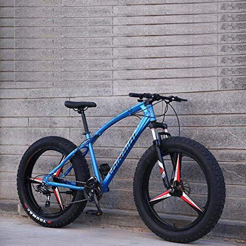 GASLIKE Bicicleta de montaña Bicicleta para Adultos, Cuadro de Acero con Alto Contenido de Carbono, Freno de Doble Disco y Horquilla Delantera de suspensión Completa,Azul,24 Inch 27 Speed