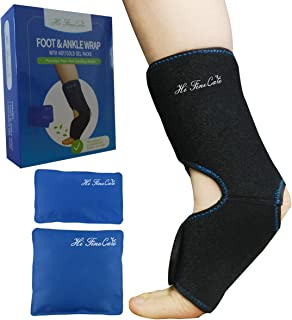Hot and Cold Therapy for Foot/Ankle, Ice Gel Pack with Adjustable Wrap with 2 Hot/Cold Gel Packs Ankle Brace Support Wrap Relieve Feet and Ankle Aches Pains