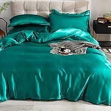 طقم اغطية سرير مسطح كوين من جينيريك- حرير، اخضر، 180 * 230 سم، VG-3BS-SILK-G
