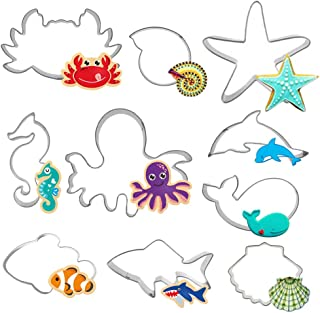 Hangnuo 10 Set Under the Sea Cookie Cutters Stainless Steel, Ocean Creatures Cutter for Biscuit, Fondant, Fruit, Bread