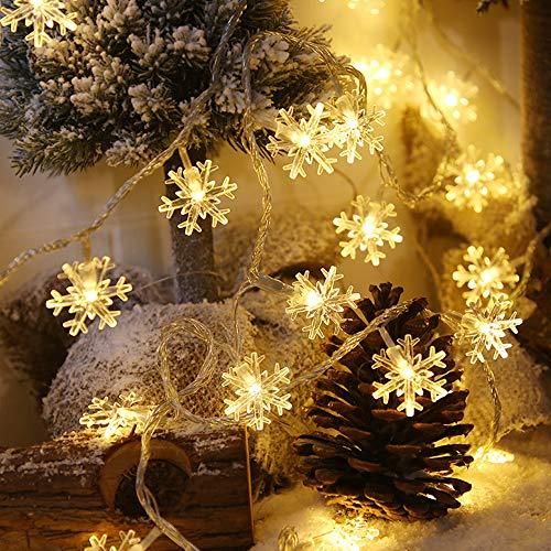 Eyscoco LED Lichterkette Schneeflocke,6M 40 LED Weihnachten Schneeflocke Lichterketten Batteriebetriebene,Wasserdicht Dekorativen Lichterketten für Hochzeit Party Halloween Innen Außen Deko (Warmweiß)