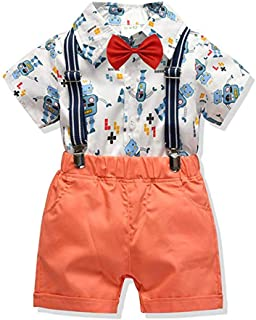 Newborn Baby Boy Gentleman Outfits 2PCS Bow Ties Shirts + Suspenders Pants Formal Outfits Clothes Set