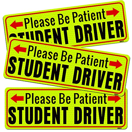 BOKA Student Driver Magnet, Please Be Patient New Driver Signs for Car, High Reflective Rookie Novice Magnetic Safety Sign, Teen Driver Warning Vehicle Bumper Sticker, 10×3.5in, 3 Pcs Gifts