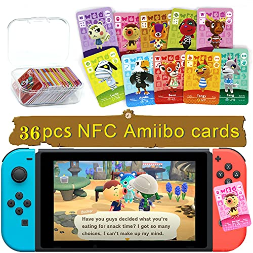36 Pcs Villager Cards Compatible with Amiibo Animal Crossing, NFC Figure Cards for Switch with Storage Case