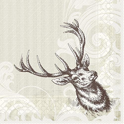 Sovie HORECA Serviette Wild   Tissue Deluxe® 4-lagig   40x40 cm 50 Stück   Hirsch mit Geweih   Feier Restaurant